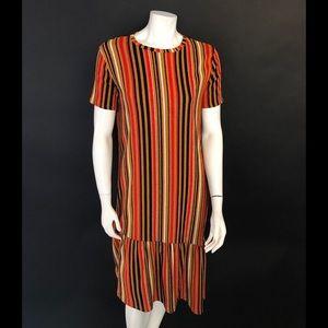 NWT Zara asymmetric midi short sleeve dress M